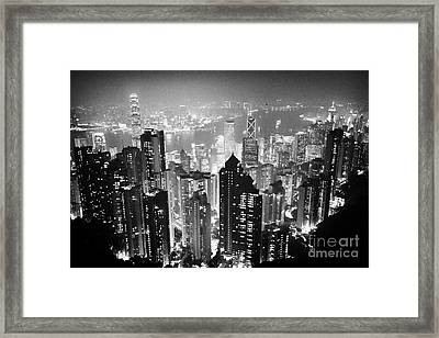 Aerial View Of Hong Kong Island At Night From The Peak Hksar China Framed Print