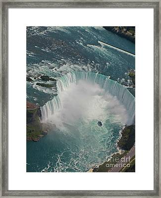 Aerial View Of Horseshoe Falls Framed Print by John Malone