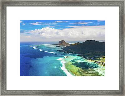Aerial View Of Le Morn Brabantl. Mauritius Framed Print