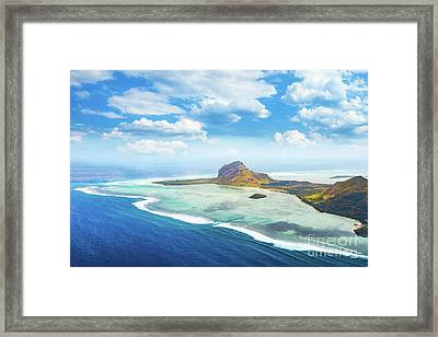 Aerial View Of Le Morne Brabantl. Mauritius Framed Print