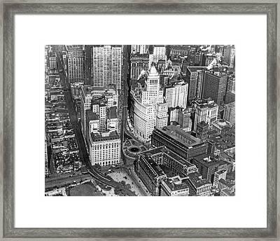 Aerial View Of Lower Manhattan Framed Print by Underwood & Underwood