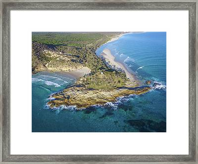 Aerial View Of North Point, Moreton Island Framed Print