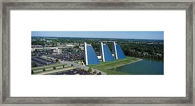 Aerial View Of Office Buildings Framed Print