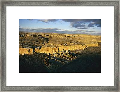 Aerial View Of Pueblo Bonito In Chaco Framed Print