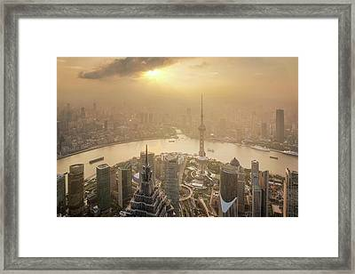 Aerial View Of Shanghai Cityscape  Framed Print by Anek Suwannaphoom