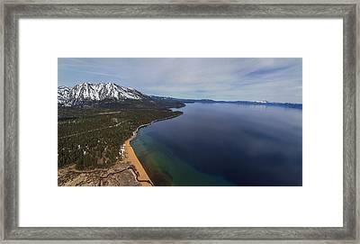 Aerial View Of Ski Beach, Lake Tahoe Framed Print by Brad Scott