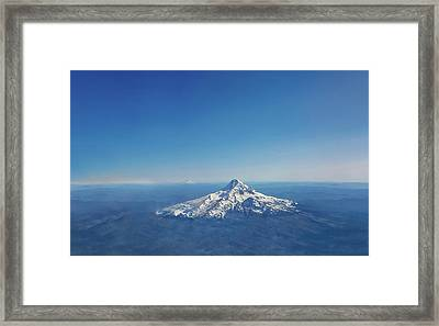 Aerial View Of Snowy Mountain Framed Print
