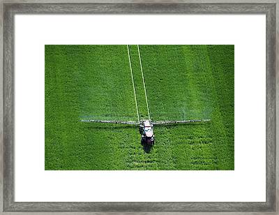 Aerial View Of Spray Application Framed Print by Remsberg Inc