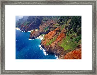 Aerial View Of The Na Pa Li Coast Kauai Hawaii Framed Print by George Oze