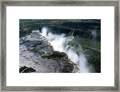 Aerial View Of Victoria Falls Framed Print by Aidan Moran