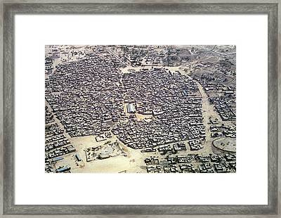 Aerial View Of Village In Ethiopa Framed Print by Carl Purcell