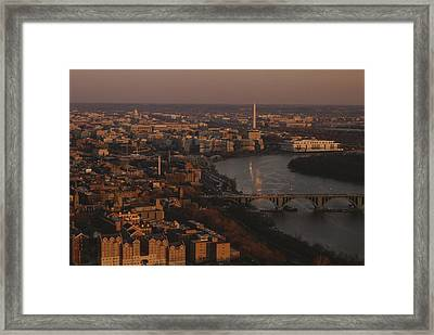 Aerial View Of Washington, D.c Framed Print by Kenneth Garrett
