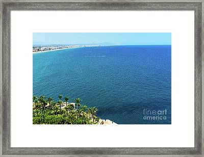 Aerial View Over Mediterranean Sea In Spain With Peniscola City In Sight Framed Print by Radu Bercan