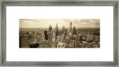 Aerial View Philadelphia Skyline Wth City Hall Framed Print