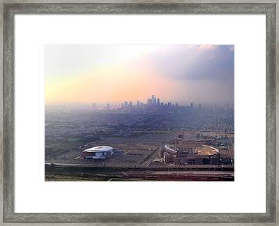 Aerial View - Philadelphia's Stadiums With Cityscape  Framed Print