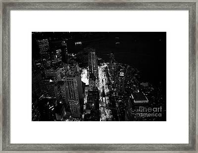 Aerial View Through Glass Of Battery Park City And Financial District Lower Manhattan From One World Framed Print