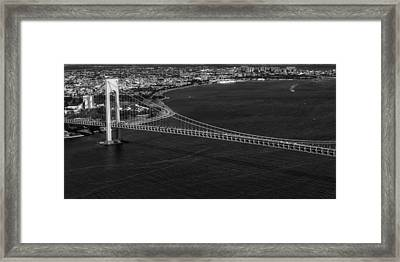 Aerial View Verrazano Bridge And Brooklyn Bw Framed Print by Susan Candelario