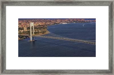Aerial View Verrazano Bridge And Brooklyn Framed Print by Susan Candelario