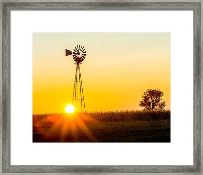 Framed Print featuring the photograph Aermotor Sunset by Chris Bordeleau
