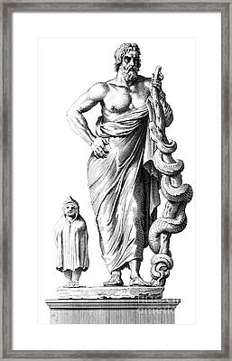 Aesculapius, Greek God Of Medicine Framed Print by Science Source