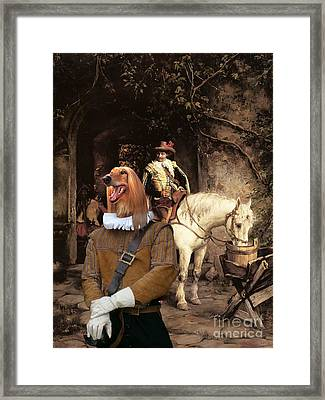 Afghan Hound-at The Tavern Canvas Fine Art Print Framed Print by Sandra Sij