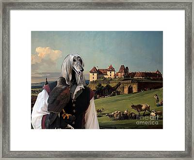 Afghan Hound-falconer And Castle Canvas Fine Art Print Framed Print by Sandra Sij