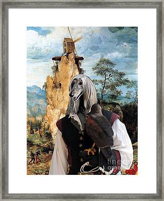 Afghan Hound-falconer And Windmill Canvas Fine Art Print Framed Print by Sandra Sij