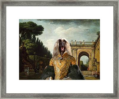 Afghan Hound-the Afternoon Promenade In Rome  Canvas Fine Art Print Framed Print by Sandra Sij