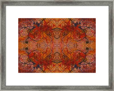 Aflame With Flower Quad Hotwaxed Version Of Acrylic/watercolour Framed Print