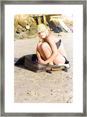Afraid And On Her Own Framed Print