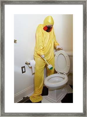 Afraid Of Haz Mat Toilet Framed Print