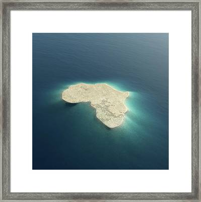 Africa Conceptual Island Design Framed Print by Johan Swanepoel
