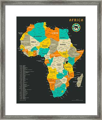 Africa Map Framed Print by Jazzberry Blue