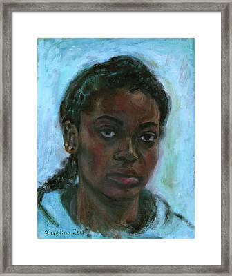 Framed Print featuring the painting African American 15 by Xueling Zou