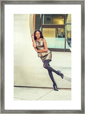 African American Business Woman Fashion In New York Framed Print