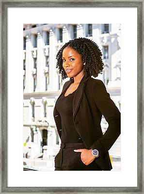 African American Businesswoman Working In New York Framed Print