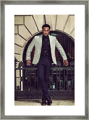 African American Businessman Working In New York Framed Print
