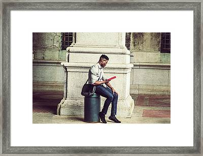 African American College Student Studying In New York Framed Print