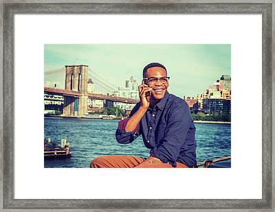 African American Man Traveling In New York Framed Print