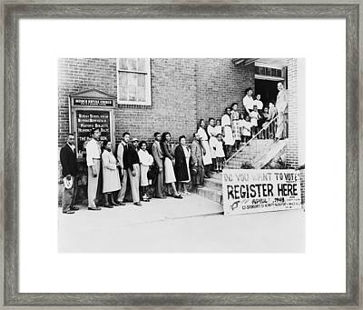 African American Men And Women Wait Framed Print by Everett