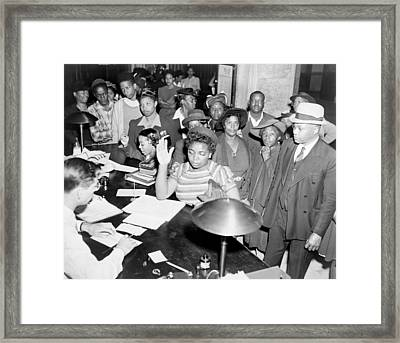 African Americans Lined Up To Register Framed Print by Everett