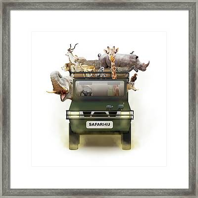 African Animals In Safari Tour Vehicle Framed Print by Susan Schmitz