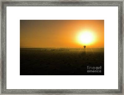 Framed Print featuring the photograph African Balloon Sunrise by Karen Lewis