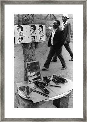 African Barber Shop Framed Print