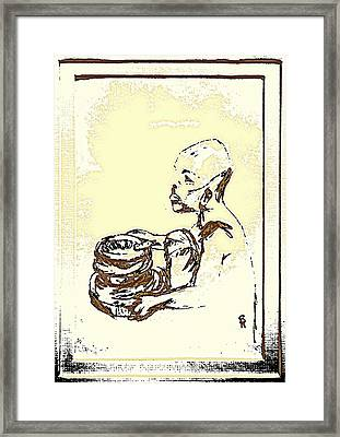 African Boy Brown Framed Print