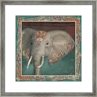 Framed Print featuring the painting African Bull Elephant - Kashmir Paisley Tribal Pattern Safari Home Decor by Audrey Jeanne Roberts