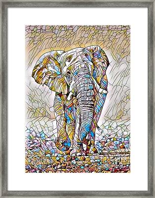 African Bush Elephant - Stained Glass Framed Print