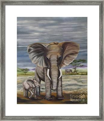African Elephant Framed Print by Ann Kleinpeter