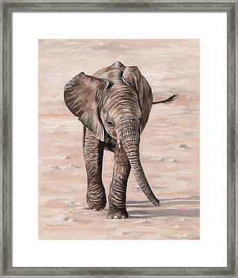 African Elephant Calf Painting Framed Print