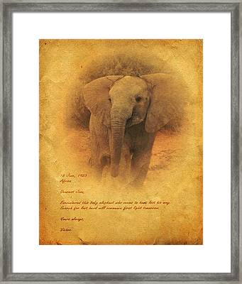 Framed Print featuring the mixed media African Elephant by John Wills